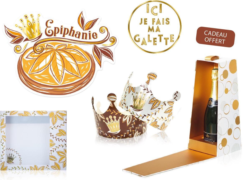 """Kit déco """"Amande"""" pour décorer son magasin pour l'épiphanie - Alcara"""
