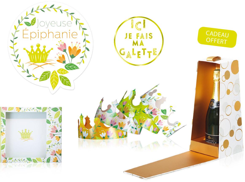 """Kit déco """"Floral"""" pour décorer sa vitrine pour l'épiphanie - Alcara"""